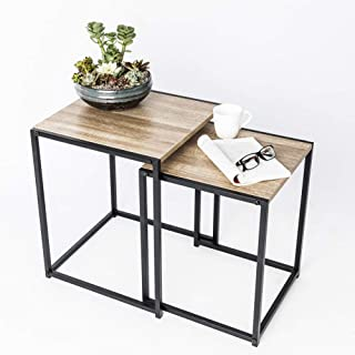 C-Hopetree Nesting End Coffee Tables Side Snack Living Room Occasional Accent Tables Industrial Wood Look, Black Metal Frame, Set of 2