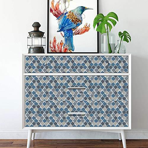 Hiseng 10 Piezas Adhesivos Decorativos para Azulejos Pegatinas para Baldosas del Baño/Cocina Estilo geométrico Resistente al Agua Pegatina de Pared (Flor de Vid Azul,20x20cm)