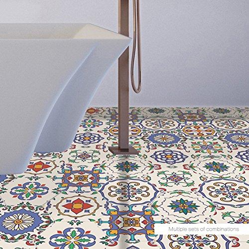 EXTSUD 10 Stück Sechseck Aufkleber mit Barock und Marokko Stil rutschfester und wasserfester Wandsticker Selbstklebende Wandaufkleber für Fußböden, Badezimmer, Küche, Schlafzimmer