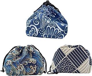 UPKOCH 3pcs sac fourre-tout japonais cordon de serrage japonais pochette bento sac de rangement portable bento sacs à lunc...