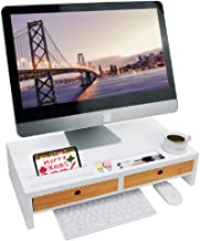 Monitor Riser Stand Desk Shelf - with Drawer and Keyboard Storage, Stylish and Well Made Space Saver 22