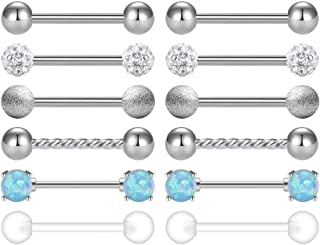 Ftovosyo 2 Pairs Grade 23 Titanium Stainless Steel Nipplerings Tongue Shield Barbell Ring Body Piercing Retainer 16G 14G 12-16mm