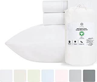 100% Organic Cotton Bed Sheets - Crisp and Cooling Percale Weave, Breathable 4 Piece Sheet Set, Deep Pocket with All-Around Elastic (King, Pure White)