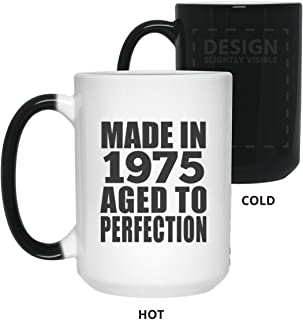 44th Birthday Made In 1975 Aged to Perfection - 15oz Color Changing Mug Magic Tea-Cup Heat Sensitive - Gift for Friend Kid Daughter Son Grand-Dad Mom Birthday Anniversary Christmas Xmas Santa