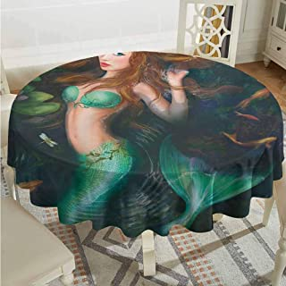 Lauren Russell Tulle Round Tablecloth Underwater Fantasy Mermaid in Lake with Lilies Blossom Magical Plants Big Leaves Jade Green Brown Christmas Tablecloth Diameter 60
