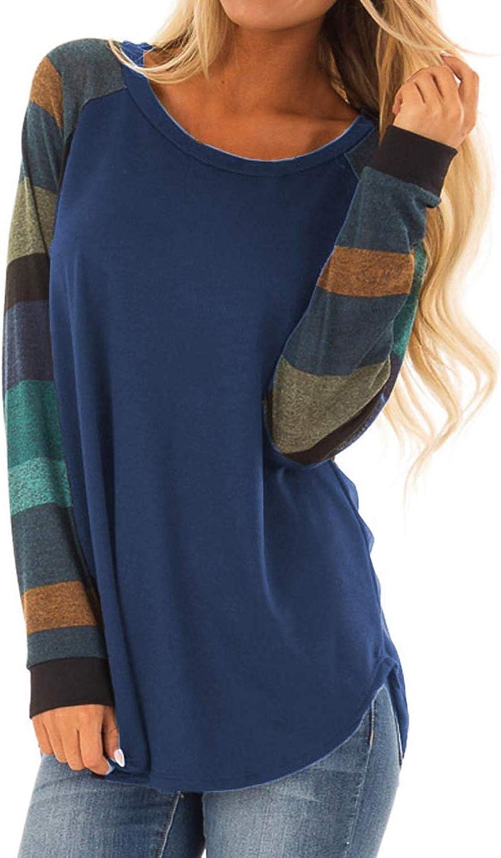 HMei Women Casual Shirts color Block Long Short Sleeve Striped Loose Tunic Sweatshirts Top
