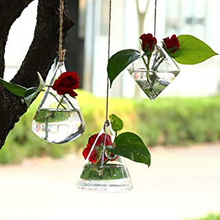 Fine 3 Pack Wall Hanging Planters Glass Hanging Plant Containers Decorative Terrariums Indoor Outdoor Glass Diamonds Wall Glass Hanging Planter