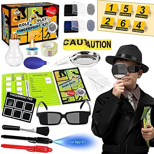 Tacobear Kit de Detective para Niños Kit de espía con Detective Disfraz Boligrafo Tinta Invisible Huellas Dactilares Juegos de Detective Juguetes de Ciencia Regalo para Niños 5 6 7 8 9 10 años