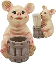 Ebros Country Farmland Barn Piglet Pig Toothpick Holder Statue 3.75