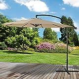Marko Outdoor Cream 3M Overhanging Parasol Cantilever Garden Sun Shade Patio Banana Large