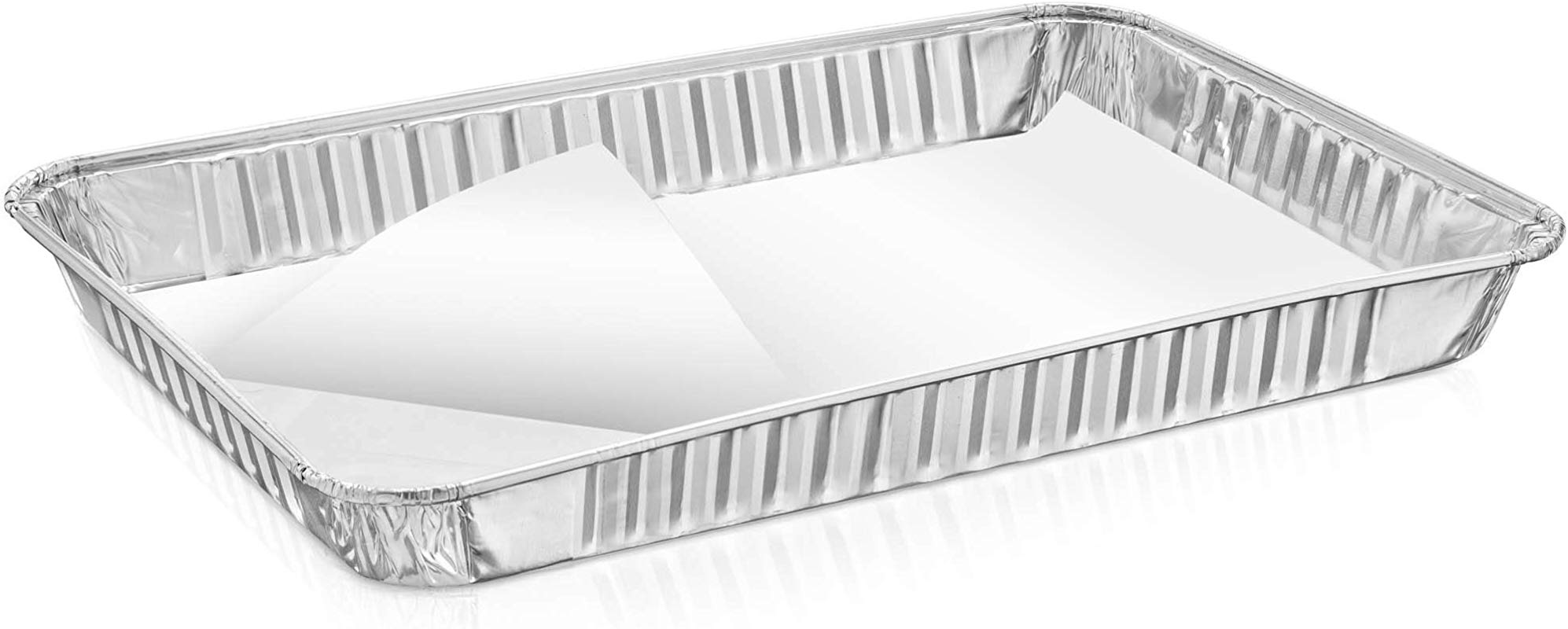 Set Of 10 1 4 Size Quarter Sheet Cake Aluminum Foil Pan Parchment Lined Extra Sturdy And Durable Great For Bake Sales Events And Transporting Food 12 3 4 X8 3 4 X 1 1 4