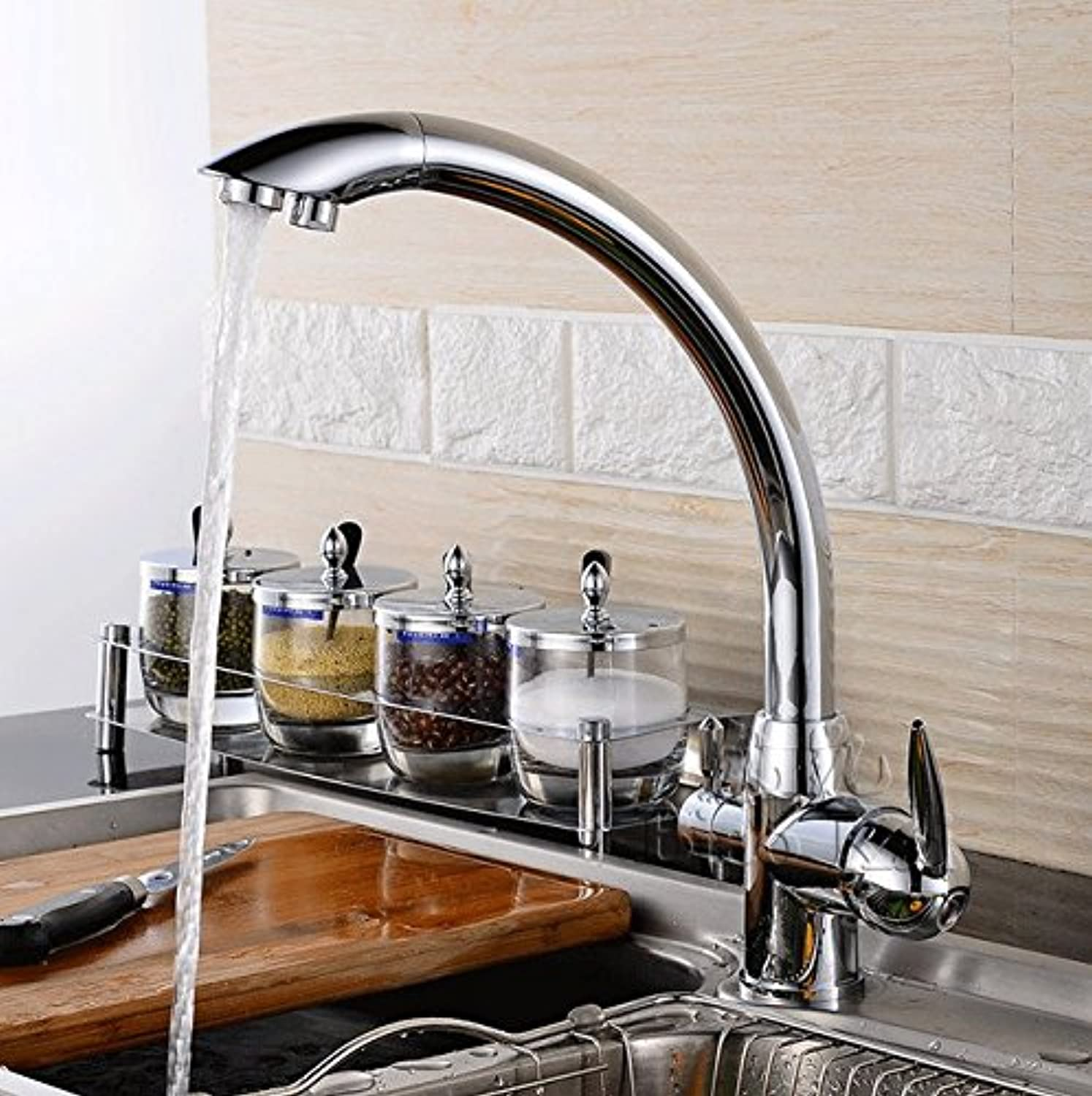 Mangeoo Faucet All Copper Lead-Free Water Faucet Kitchen Cooling Hot Mixing Faucet Wash Basin Pots Tap Water Dual Use