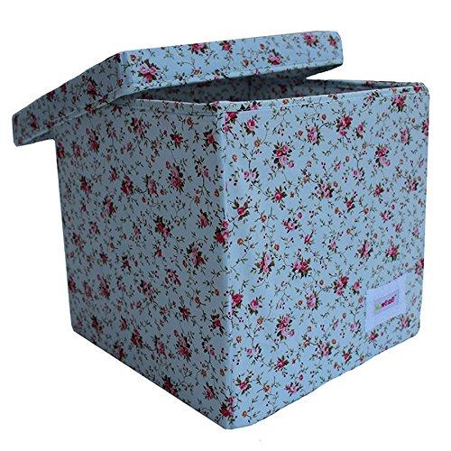 Minene Cube de rangement Motif fleurs Bleu