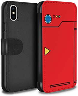 Phone Case Wallet for Apple iPhone X/10 Anime Cartoon Codex Red Design Flip Faux PU Leather Cover