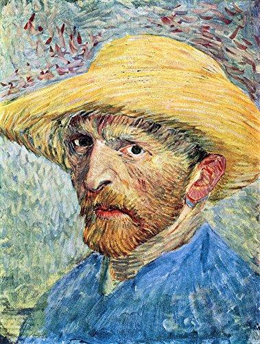 The Museum Outlet - Zelfportret, met strohoed en blauw shirt van Van Gogh, Stretched Canvas Gallery verpakt. 11,7 x 16,5 inch