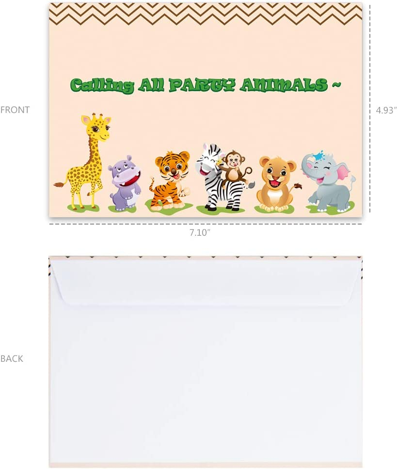 WERNNSAI Jungle Party Invitation with Envelopes Safari Animals Theme Party Supplies for Kids Birthday Baby Shower Zoo Party Invite Cards Double-Sided Printed 20 Sets