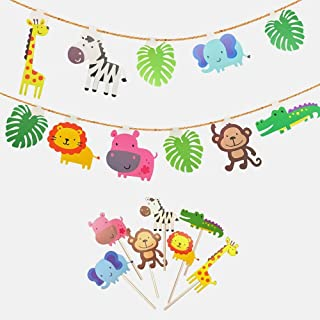 kapoklife Animal Party Banner with 28-Pack Cute Zoo Animal Cupcake Toppers Picks,Jungle Animals Cake Toppers for Kids Baby Shower Birthday Party Cake Decoration Supplies