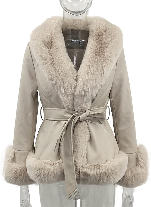 PU Leather Short Jackets Women Tie Belt Waist Coats Women Elegant Side Pockets Faux Fur Jackets Female Ladies (Color : Beige, Size : XS.)