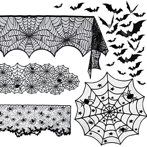 YanyanDz 5 Halloween Spider Decoraties Sets Tafelkleed Runner Zwarte Ronde Spinneweb Tafel Cover Schoorsteenmantel Sjaal Spinneweb Haard Sjaal Spider Lampenkap Decoraties Voor Indoor