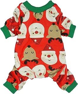 Fitwarm Christmas Pet Clothes Dog Pajamas Holiday Cat Apparel Lightweight Velvet Santa Reindeer Red