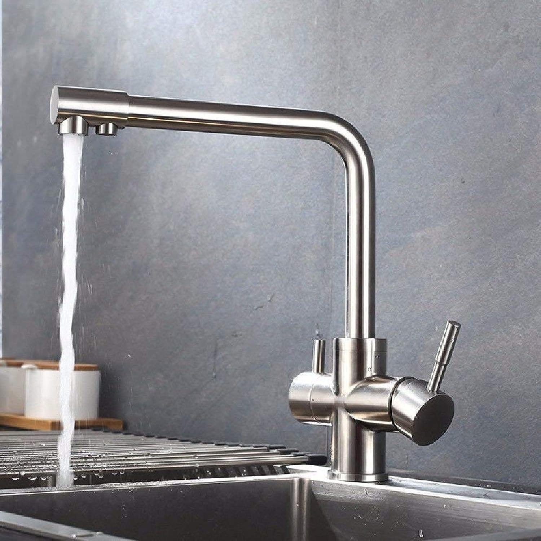 Oudan Küchenarmaturen Edelstahl-Spülbecken Wasserhahn mit drehbarem Auslauf für Kaltwasser-Spültischarmatur (Farbe   -, Gre   -)