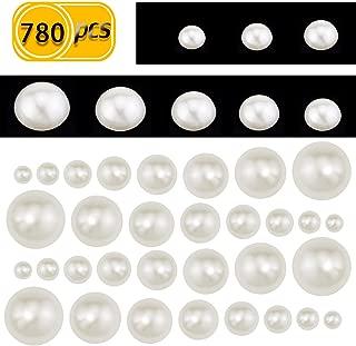 UPlama 780PCS Snow White Flat Back Cabochons Half-Round Pearl Mitation Pearl Acrylic Beads Flat Back Scrapbook for Wedding Decoration(2/3/4/5/6/8/10/12MM)