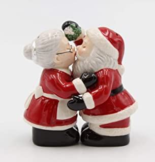 Fine Ceramic Kissing Santa & Mrs. Claus Under the Mistle Salt & Pepper Shakers Set, 3-3/8