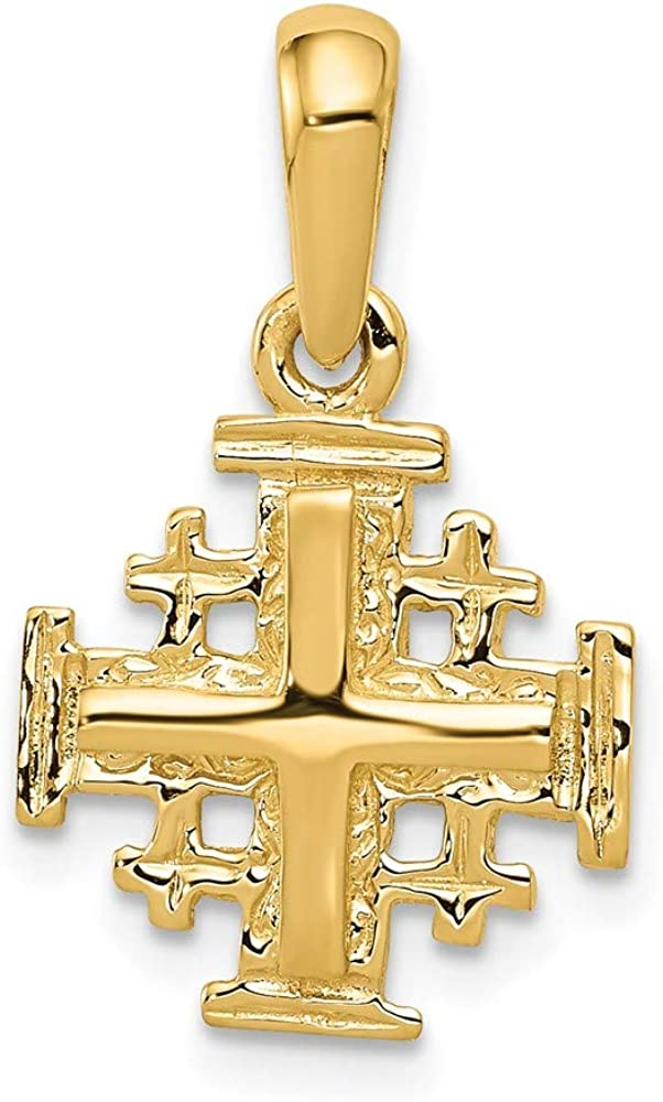 14k Yellow Gold Jerusalem Cross Religious Pendant Charm Necklace Jerum Fine Jewelry For Women Gifts For Her