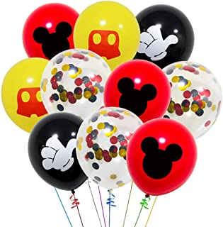 40 Pack Mickey Mouse Balloons 12 Inch Latex Red Black Yellow Color Confetti