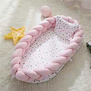Ann Breathable Baby Nest Pod Newborn Nest Baby Lounger Bionic Bed For Baby 100  Soft Cotton Portable Crib For Bedroom Travel Breathable Hypoallergenic Sleep Lounger Bumper 0-12Months  Pink