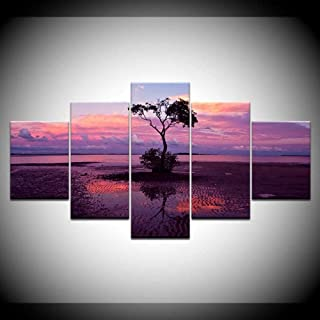 QQYYYT Modern decoration living room wall home high-definition prints 5 trees sunset landscape oil painting poster canvas ...