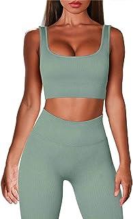 Fashspo Women's 2 Piece Workout Outfits Tracksuit Seamless High Waist Leggings Stretch Sports Yoga Activewear Set