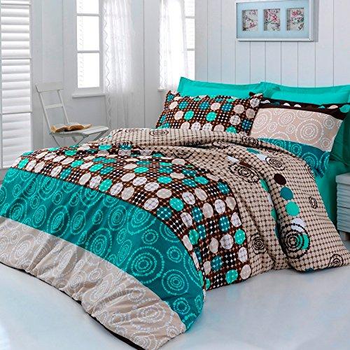 Kvalitex Parure de lit, Coton, Turquoise/Beige/Brown, 200 x 140 cm
