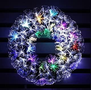 HOLIDAY STUFF Multi Color LED Fiber Optic Christmas Wreath (24in, White + Multi Colore)