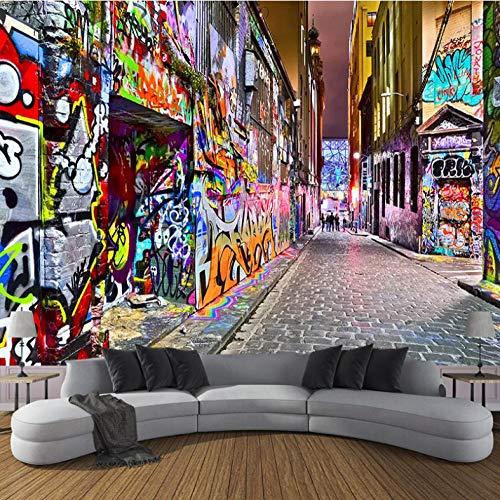 Tapete Fototapete 3d Effekt Straßen Graffiti Wandbild Wandtapete Hauptdekorationen für Wohnzimmer Schlafzimmer, 350cm x 256cm