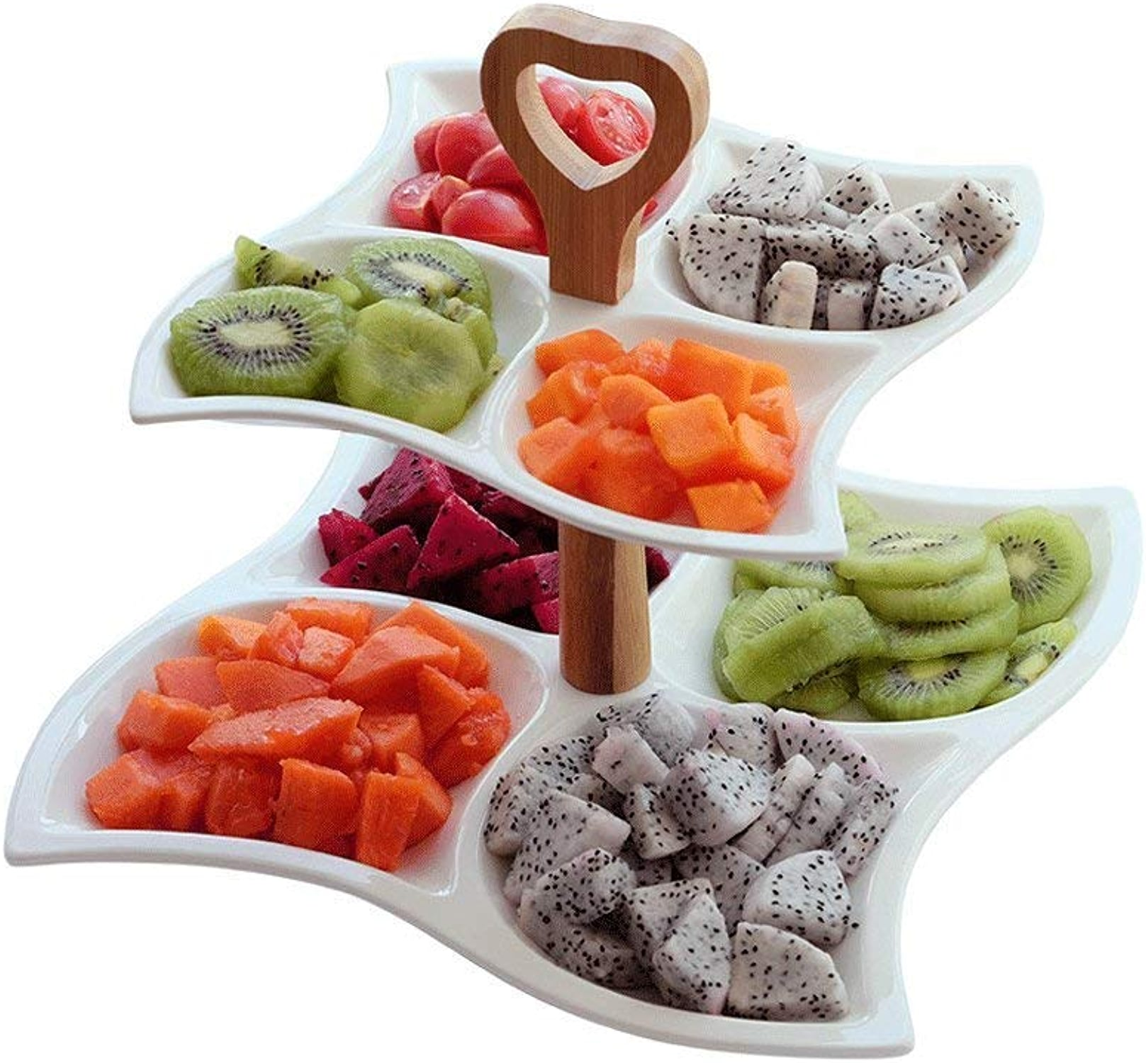 Double assiette de fruits en céramique, assiette de fruits à desserts multigrains, assiette de fruits secs, Boîte à collations, assiette pour le petit déjeuner (Couleur   6911900000)