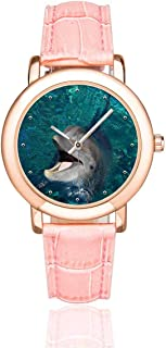 InterestPrint Happy Dolphin Women's Rose Golden Watches Waterproof Wrist Watch