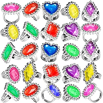 Plastic Rings -  144 Pieces  Bulk Plastic Rings for Bridal Shower Pirates and Mermaids Treasure Birthday Parties Bachelorette Goodie Bags and Prizes Adjustable Jewel Sparkle Rhinestone Rings