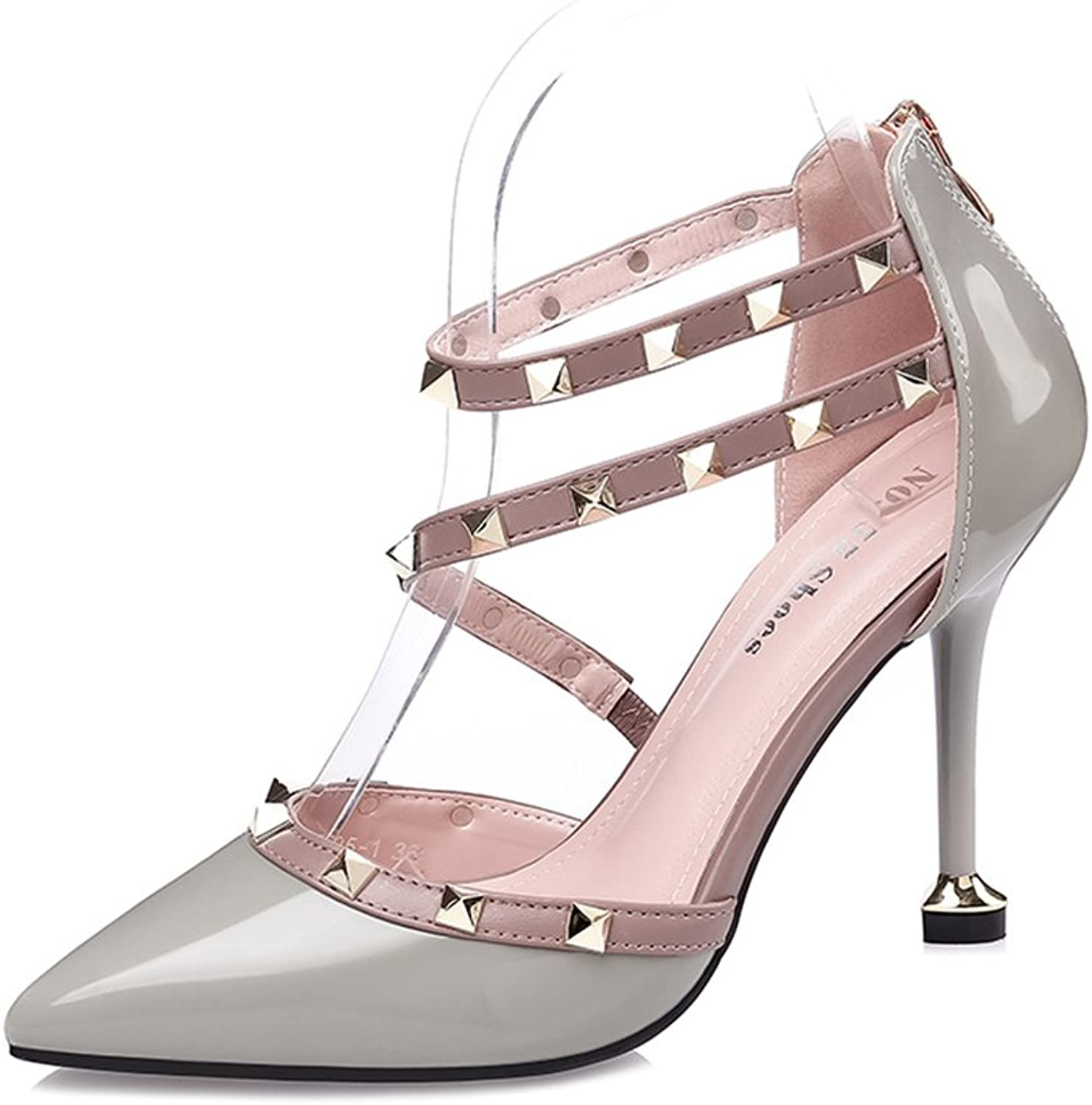 FORTUN Personalized Women's shoes Pointed Toe high Heels Rivets Shallow Sandals