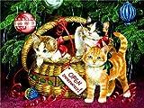 JXMK DIY Pintura Sin Marco Navidad de Perros y Gatos Pintura Digital DIY con óleo sobre Lienzo Set de Pintura al óleo de Regalo 40x50cm