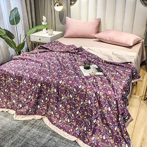 Bocotous Luxurious Soft Duvet Quilt Double,Silk Comforter Quilt For Summer, Printed silk satin Printed Bedding Flat sheet pillowcase F 200 * 230cm(4pcs)