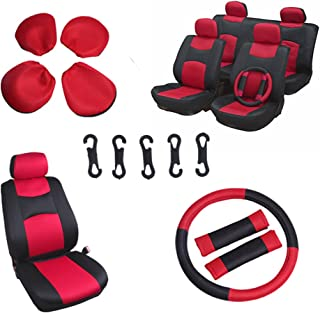 OCPTY Car Seat Cover Full Set with Steering Wheel Cover and w/Headrest 100% Breathable Automotive Accessories,Split Bench Red/Black