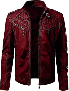 YYG Men's Fall Winter Classic Moto Biker Stand Collar Jacket Solid Color Pu Leather Coat Outerwear
