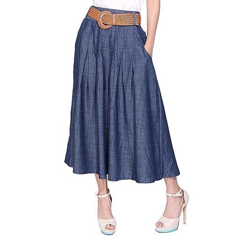 df4bcfd18 Kaachli Women s Thin Blue Denim Cotton Midi Calf Pocket Fall Skirt with Belt