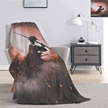 Luoiaax Japanese Rugged or Durable Camping Blanket Reflection of Samurai Practicing Hazy Sunset Background Free from Death Concept Warm and Washable W60 x L50 Inch Salmon Umber