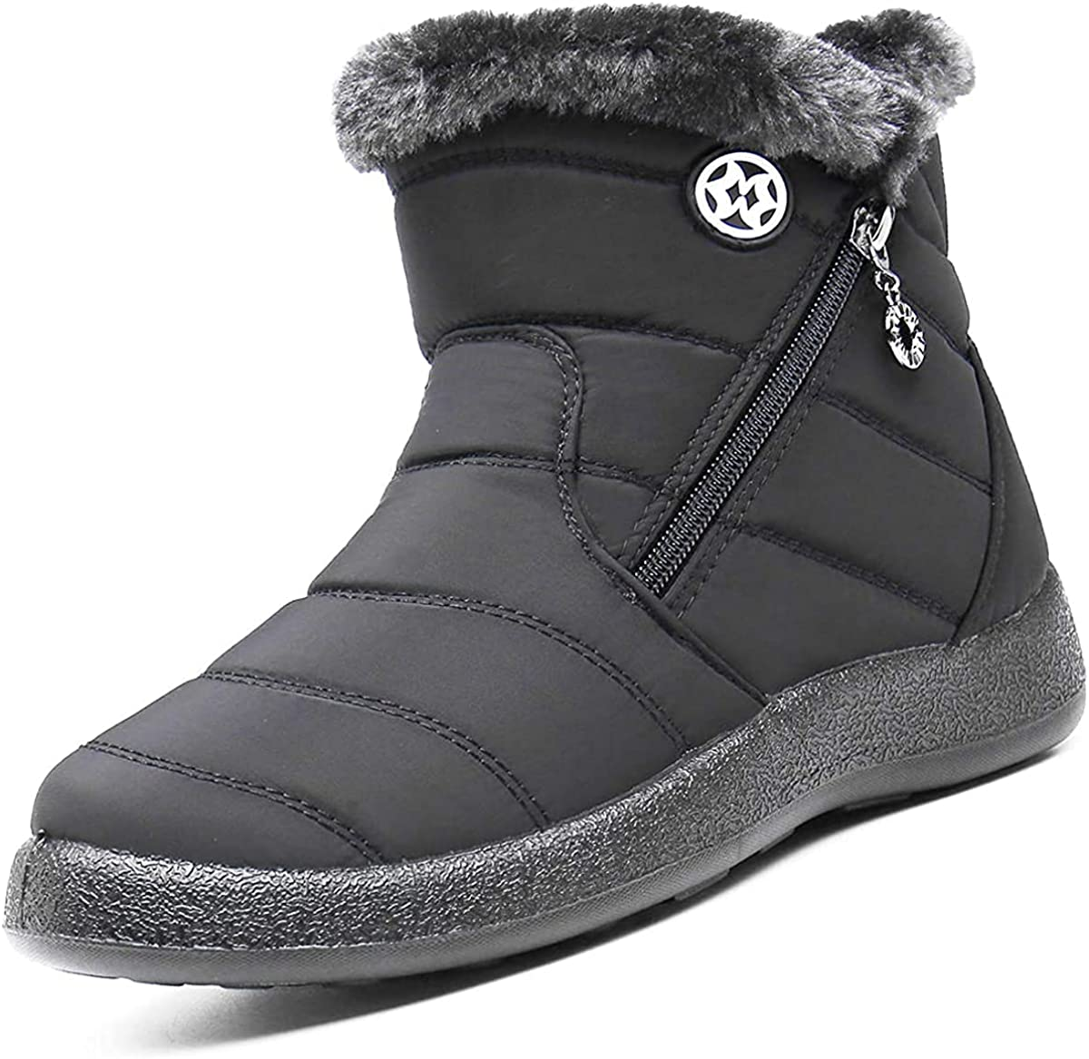 Eagsouni Snow Boots Womens Winter Ankle Boots Ladies Warm Fur Lined Booties Thickening Shoes Zip Flat Sneakers Outdoor Booties