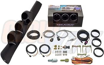 GlowShift Diesel Gauge Package for 1998-2002 Dodge Ram Cummins 2500 3500 - Tinted 7 Color 60 PSI Boost, 2400 Pyrometer EGT & 30 PSI Fuel Pressure Gauges - Black Triple Pillar Pod w Speaker Cutout