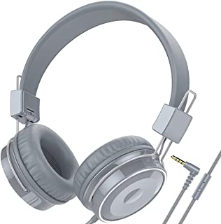 Baseman Wired Headphones Lightweight Children Foldable Over Ear 3.5 mm Headphones with Microphone for Kids Boys Girls Sound Quality On Ear Headset Teens Earphone for Music TV Computer Cell Phone Grey