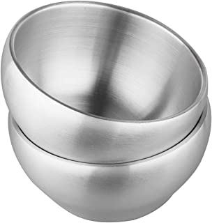 IMEEA 24oz SUS304 Stainless Steel Serving Bowls Kids Bowls Heavy Duty Double-deck Brushed BPA Free, Set of 2 (14cm)