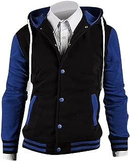 jeansian Men's Slim Fit Cotton Baseball Button Drawstring Jacket Hoodies 9006